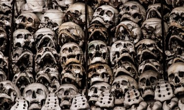 Ossuary at San martino Italy lake garda skeletons Red Cross founding skull bones morbid urban explorations odd vanlife day trip onlylifeweknow