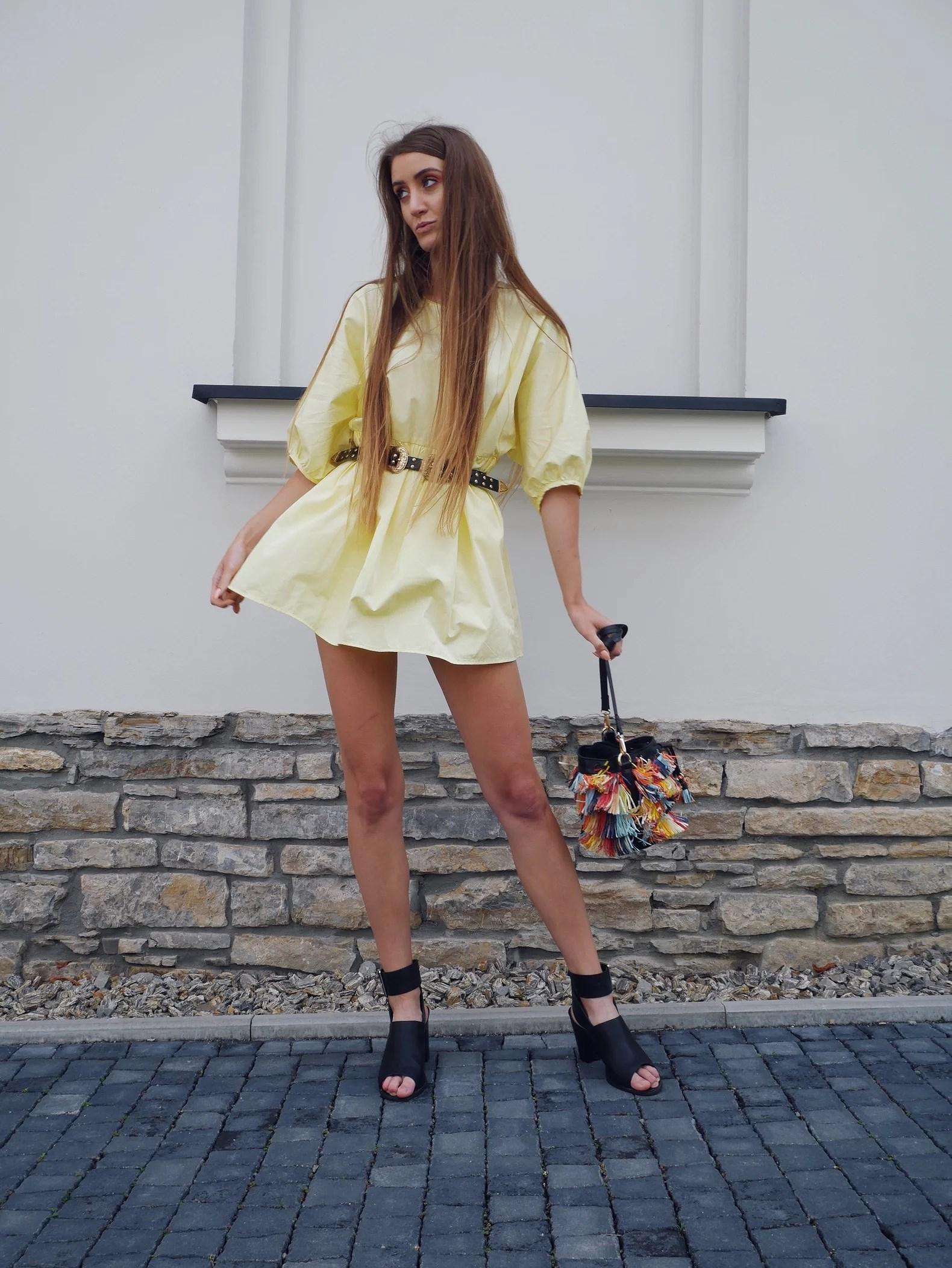 OOTD żółty kombinezon Zara
