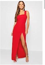 Klicka för att förstora Dam Red Petite - Maxiklänning med fyrkantig skärning och slits Petite - Maxiklänning med fyrkantig skärning och slits