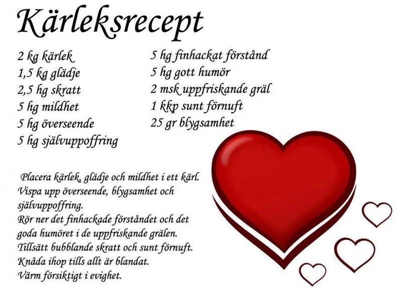 recept på kärlek
