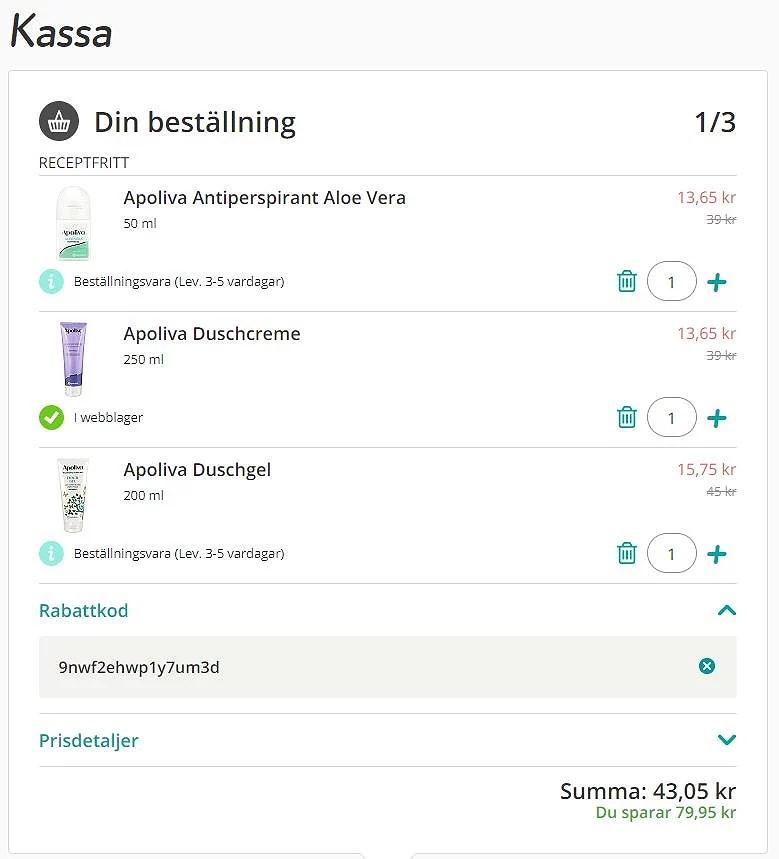 Rabattkod med Apotekets app och dubbel återbäring