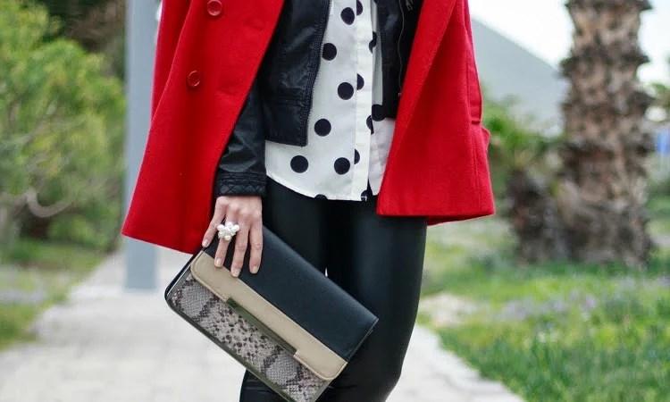 Polka dots & red coat