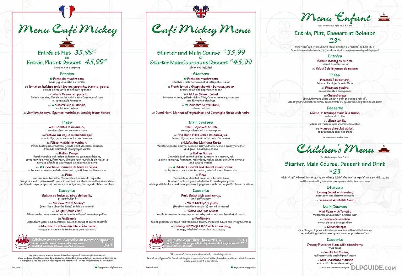 Menyer på Disneyland Paris: Café Mickey