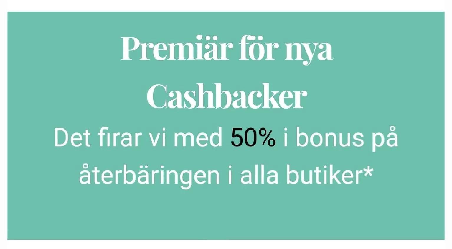 Cashbacker firar med 50 procent högre bonus i alla butiker