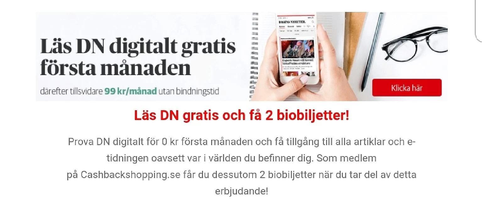 Få 2 biobiljetter som cashback när du provar DN digital gratis ...