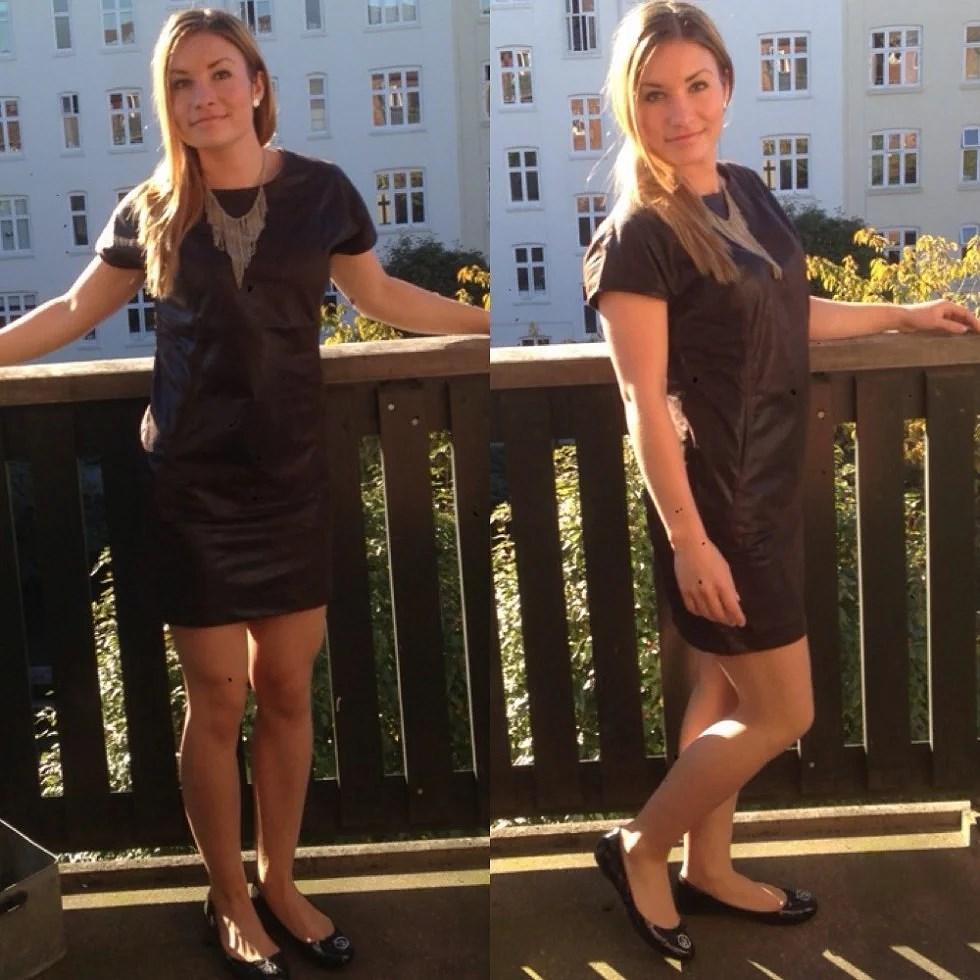#TheOOTD - Brun læderlook kjole fra Justagirlsj.dk, halskæde fra H&M, ballerinaer fra Armani.