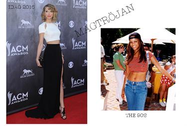 fda75cb0c9e0 90-talet: Tyra Banks var en av många som gillade trenden. Det är svårt att  bära magtöjan men med ett par utsvängda jeans så gick det nog bra!