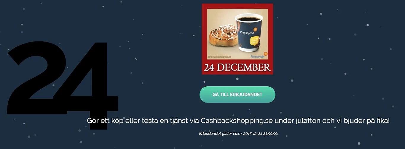 Gratis fika + 30 kr från Cashbackshopping