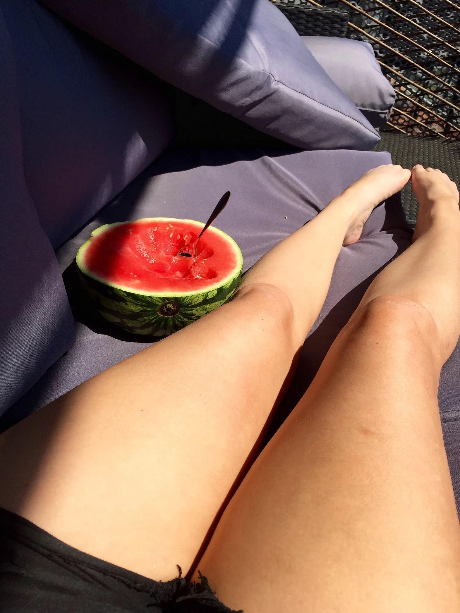 Vattenmelon i solen.