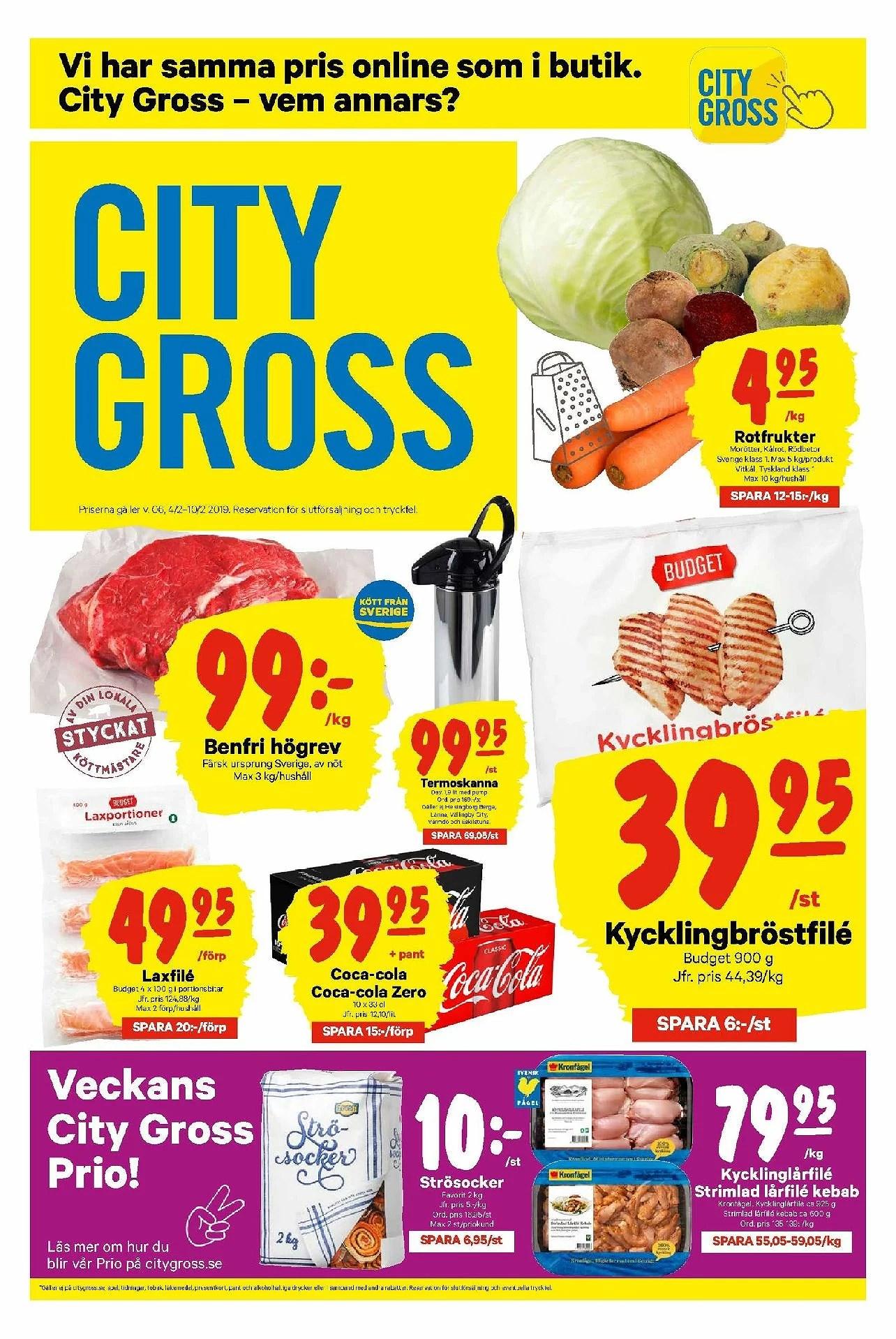 City Gross, roktfrukter 4,95kr kg, barnmat köp 4 betala för 3 och annat