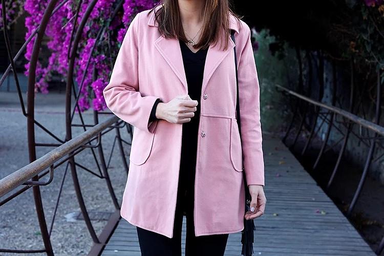 Abrigo rosa de corte recto de Lightinthebox