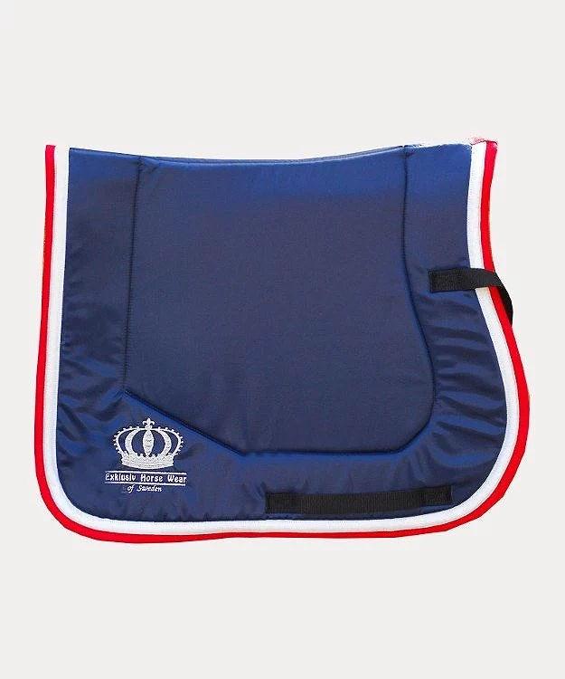 Blå röd tävlingsoutfit