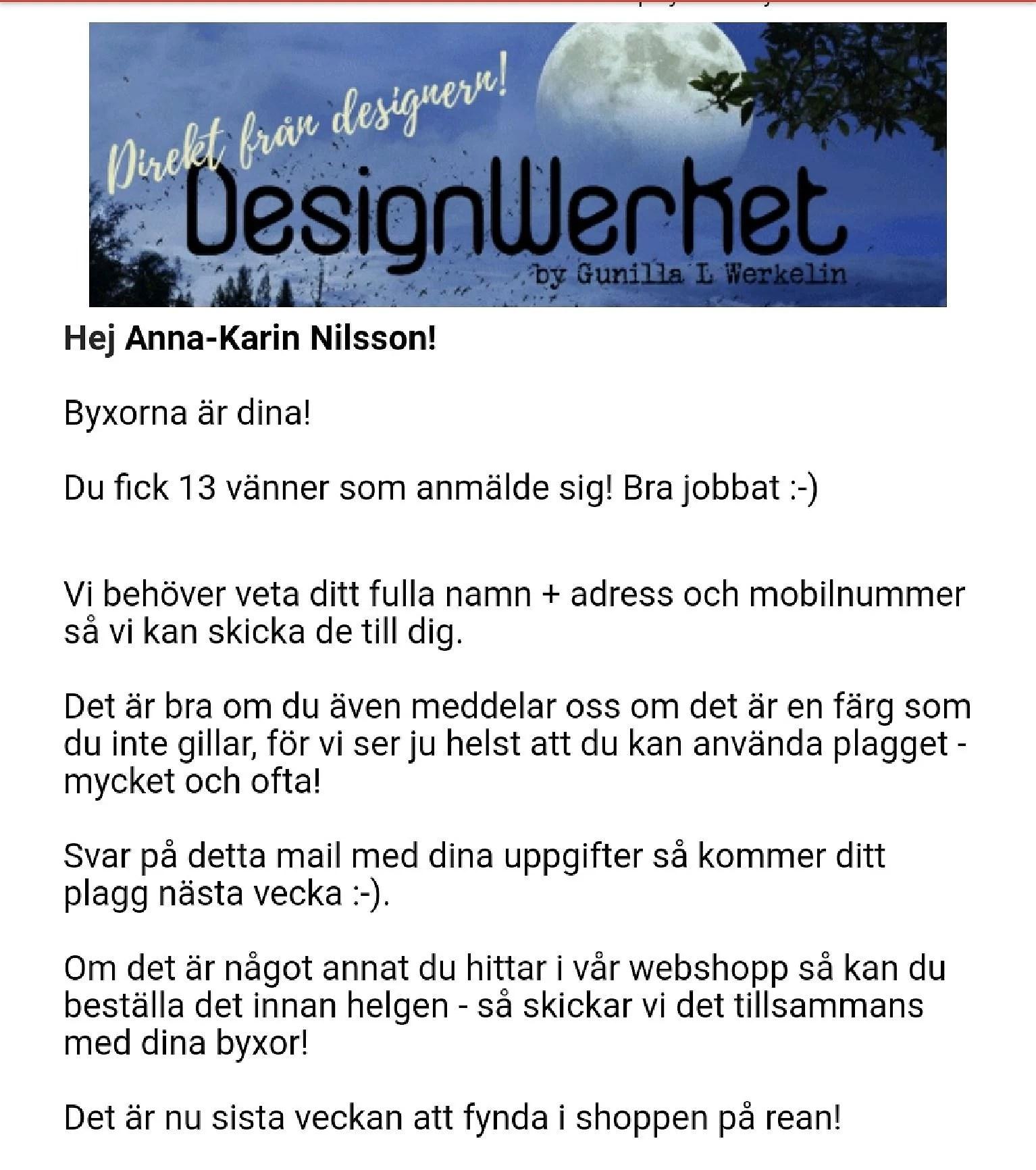 Byxor från DesignWerket på väg 😀