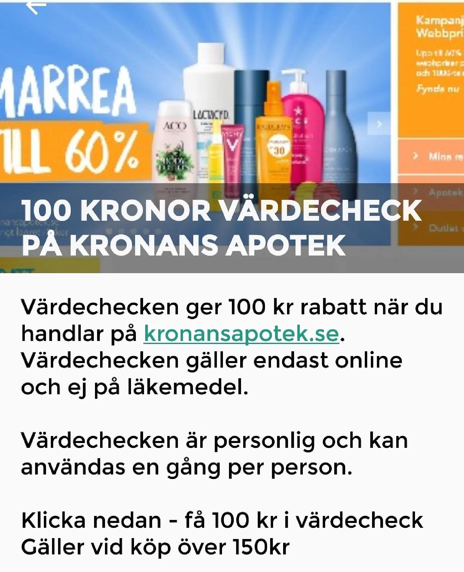 Få 100 kr rabatt på Kronans Apotek