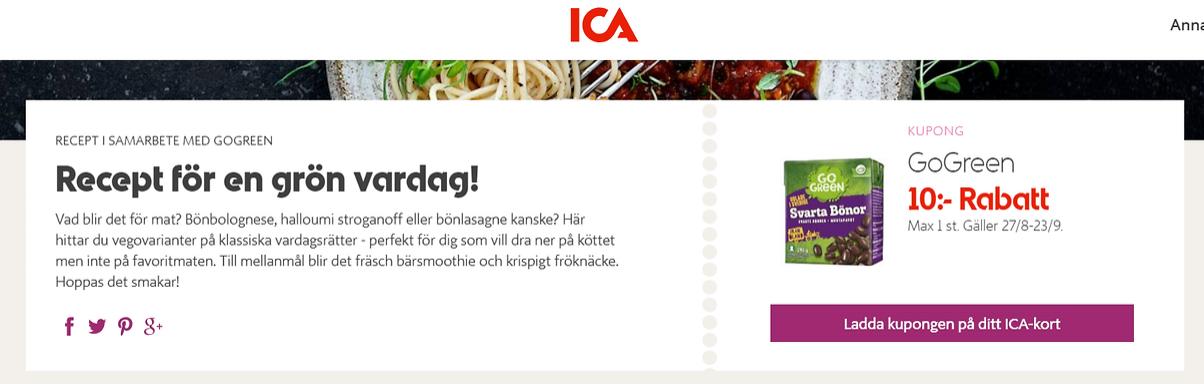 Ladda 10 kr GoGreen rabatt på ICA kortet