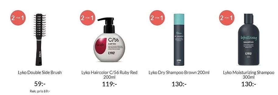 Lyko , 40 procent på Wella och 2 för 1 på Lyko hårvård