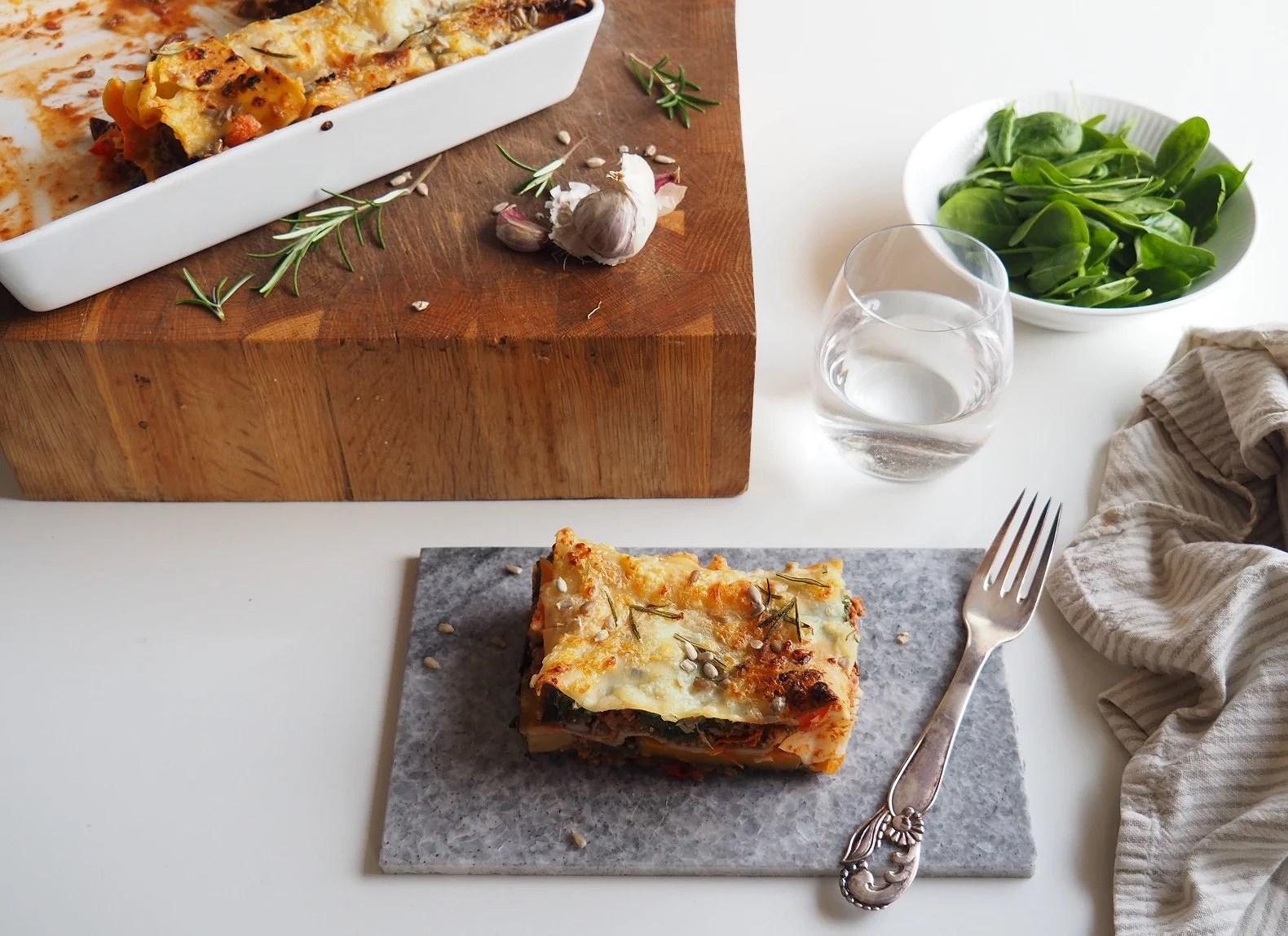 Lasagne med butternutsquash og spinat