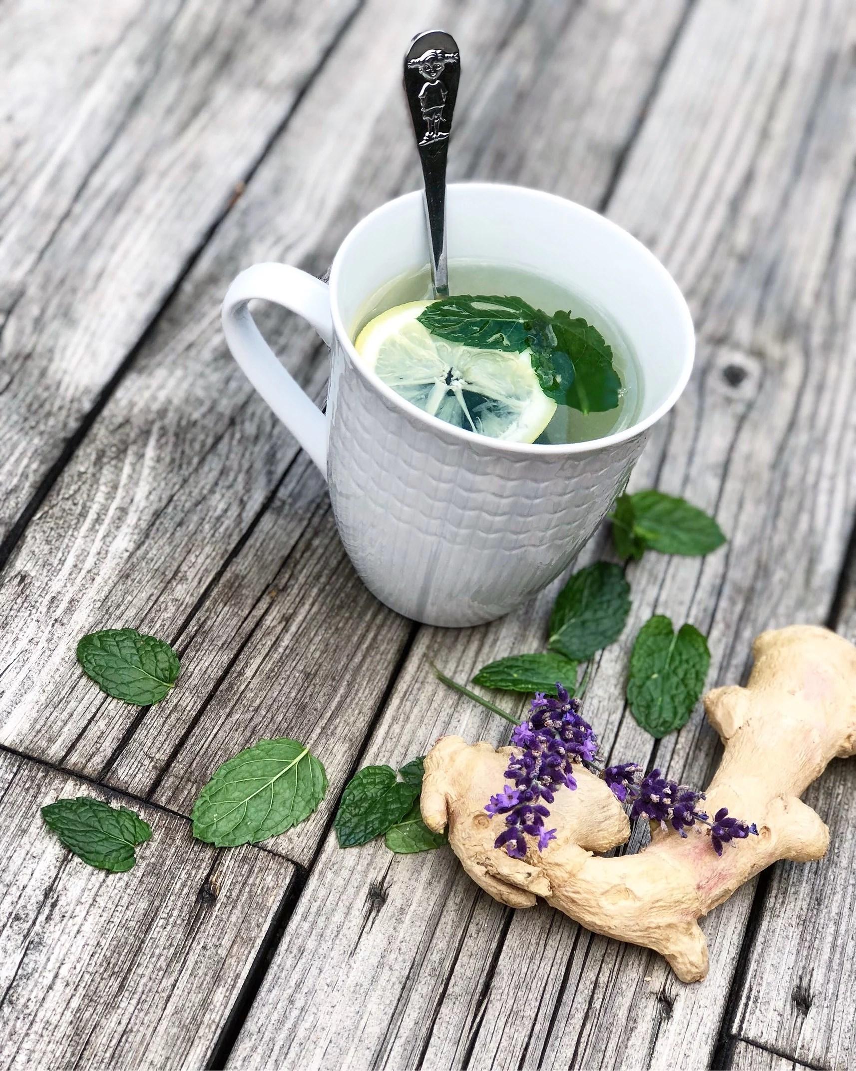 Hemmagjort te med smak av ingefära, citron & mynta