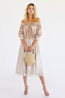 SEQUIN GOLD DRESS OFF SHOULDER FREE PEOPLE