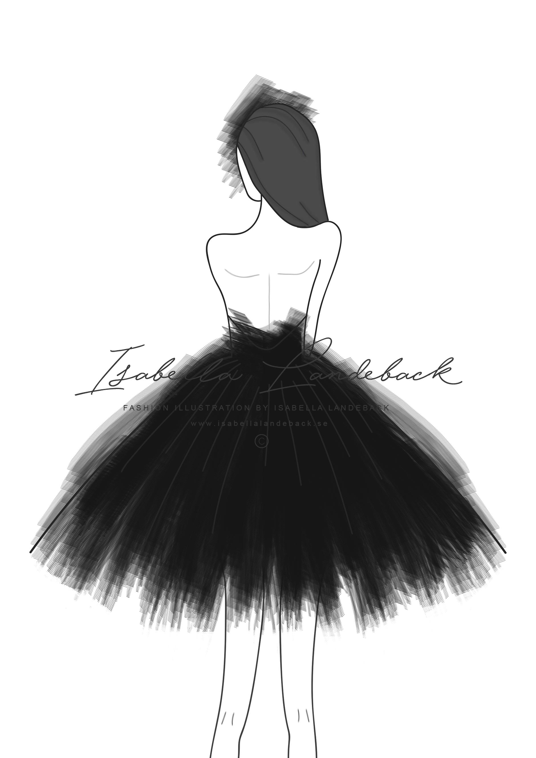 Tulle dress illustration