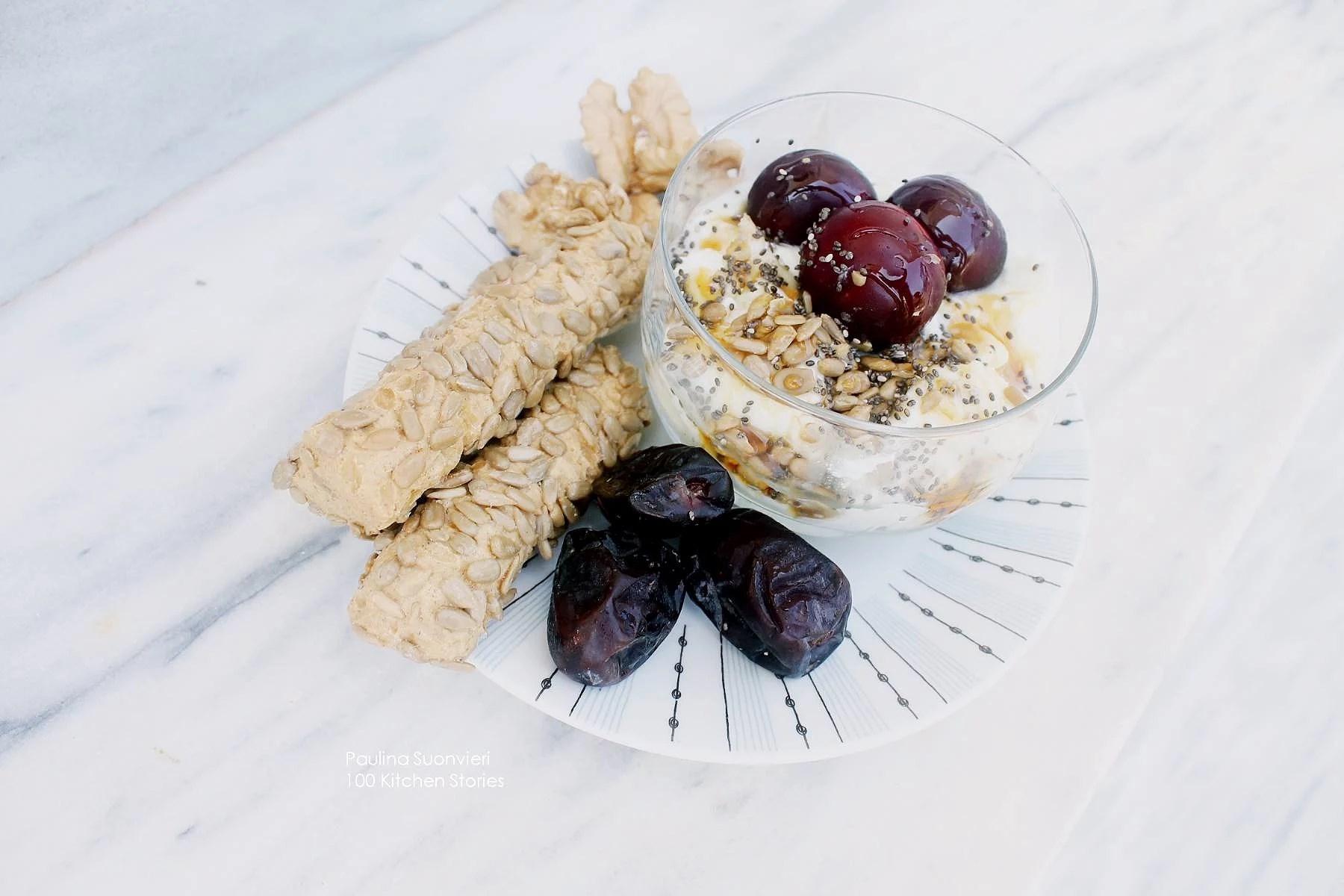 Greek Deluxe Bowl + Dates, Walnuts & Breadsticks w Sunflower Seeds