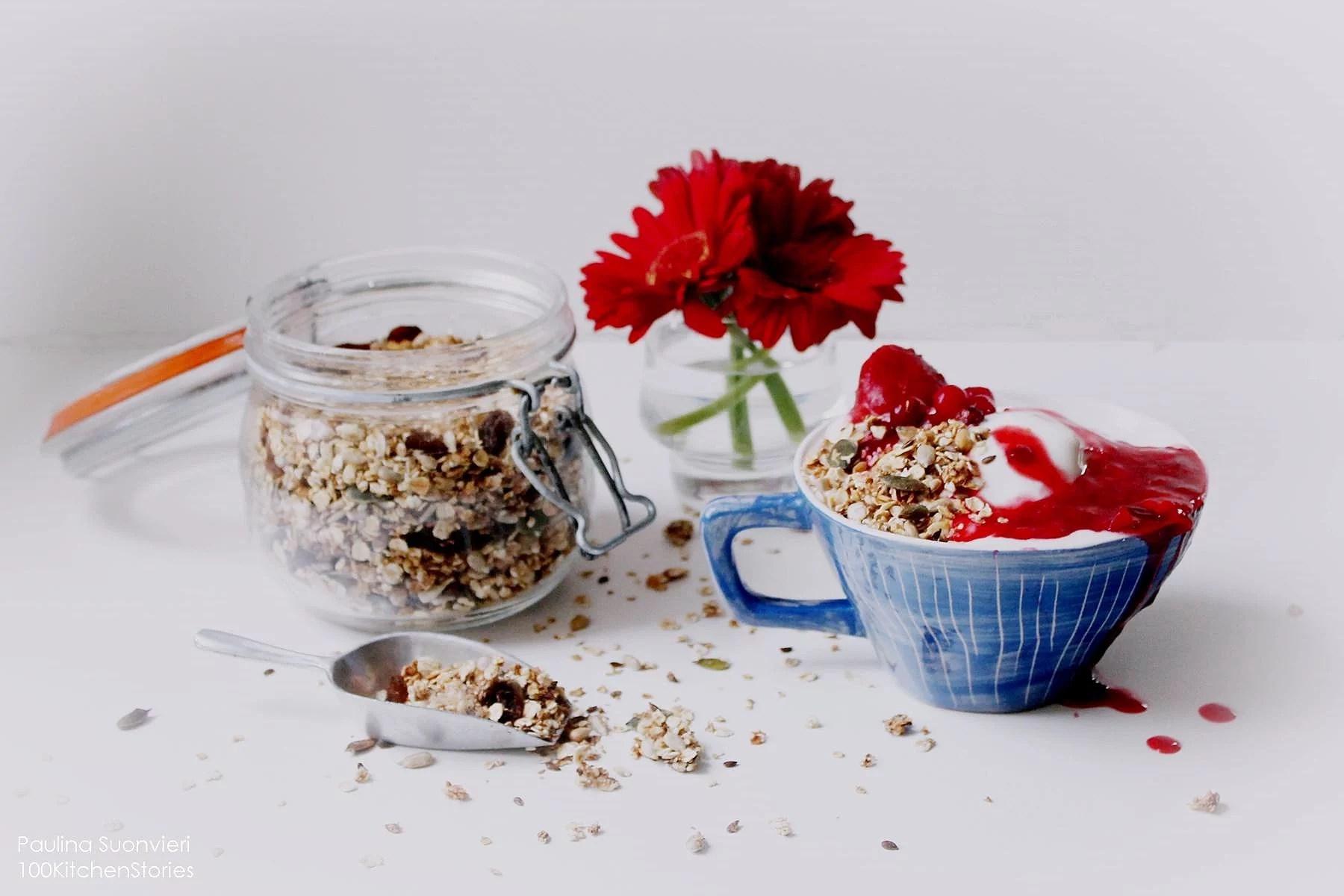 Breakfast cup w Strawberry-Cranberry Jam & Plum-Vanilla Granola
