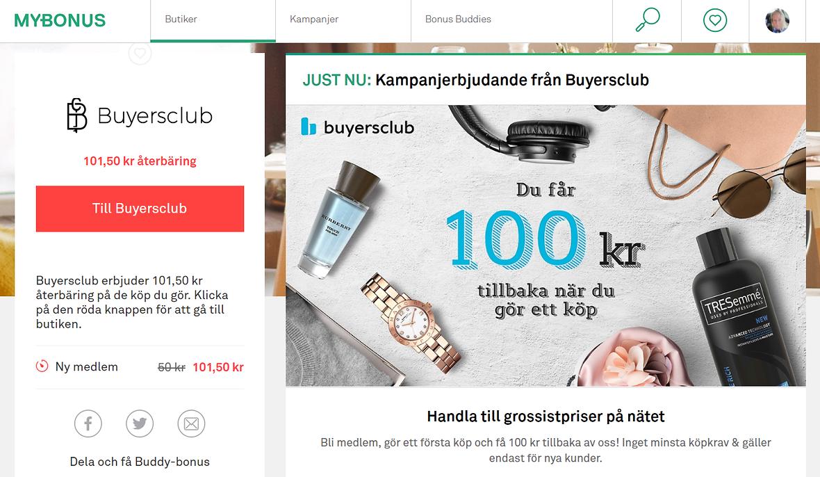101,50 kr cashback på Buyersclub...