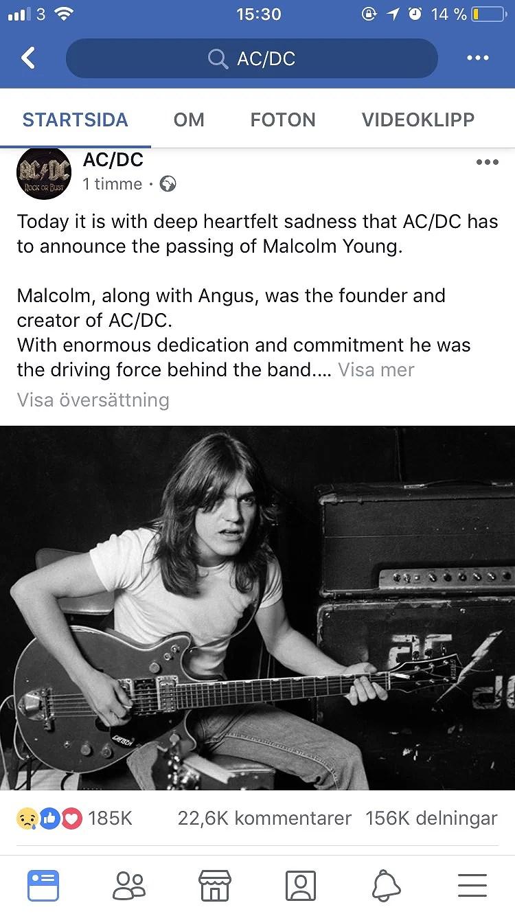 Malcolm Young har lämnat oss