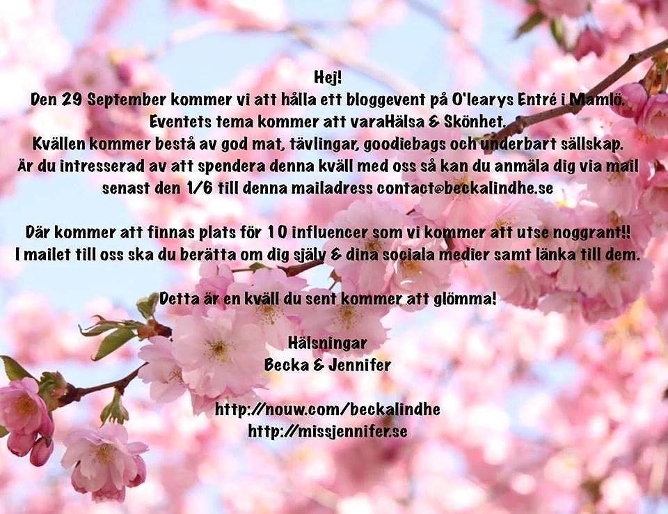 Bloggevent inom hälsa och skönhet - sista dagen att anmäla ditt intresse!