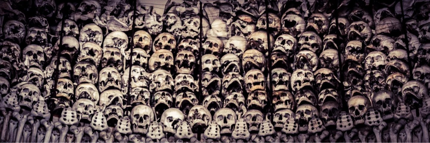 Ossuary at San martino Italy lake garda skeletons Red Cross founding skull bones morbid urban explorations odd vanlife day trip onlylifeweknow