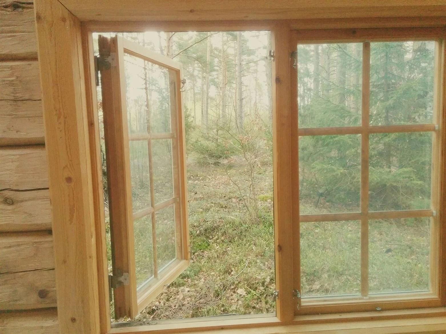 I en stuga ute i skogen