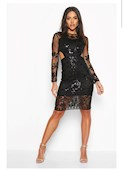 Klicka för att förstora Dam Black Premium Cut Out Detail Beaded Sequin Dress Premium Cut Out Detail Beaded Sequin Dress