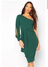Split Sleeve Belted Bodycon Midi Dress
