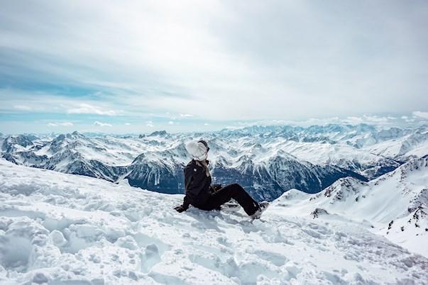 pige, sne, bjerge,