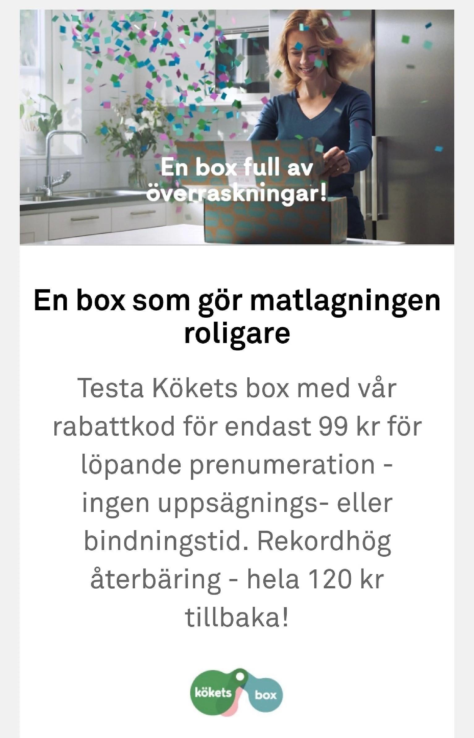 Prova kökets box för 99 kr och få 120 kr cashback