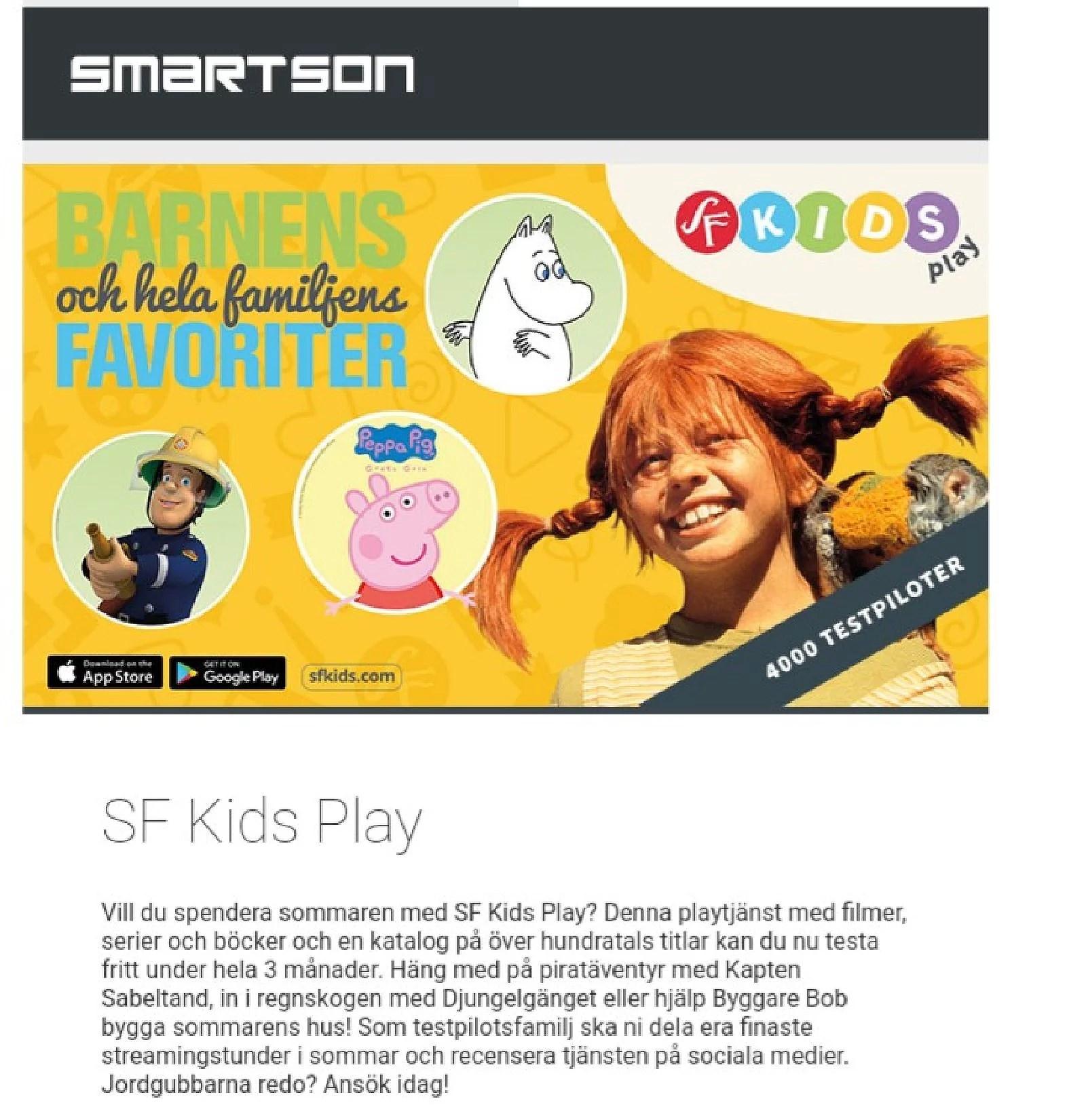 SF KIDS PLAY GRATIS 3 MÅNADER