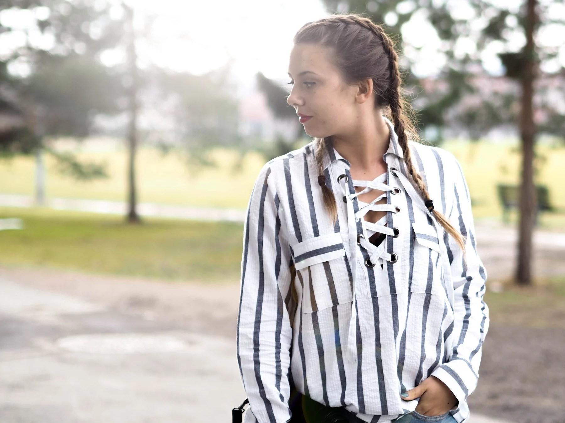 Lace up striped shirt