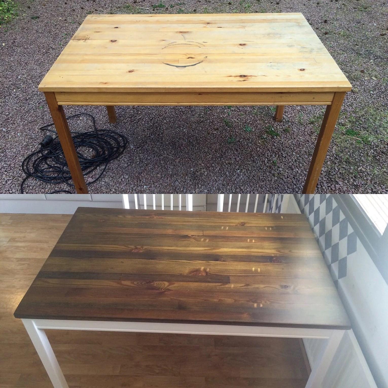 tjockt lager lack på bord
