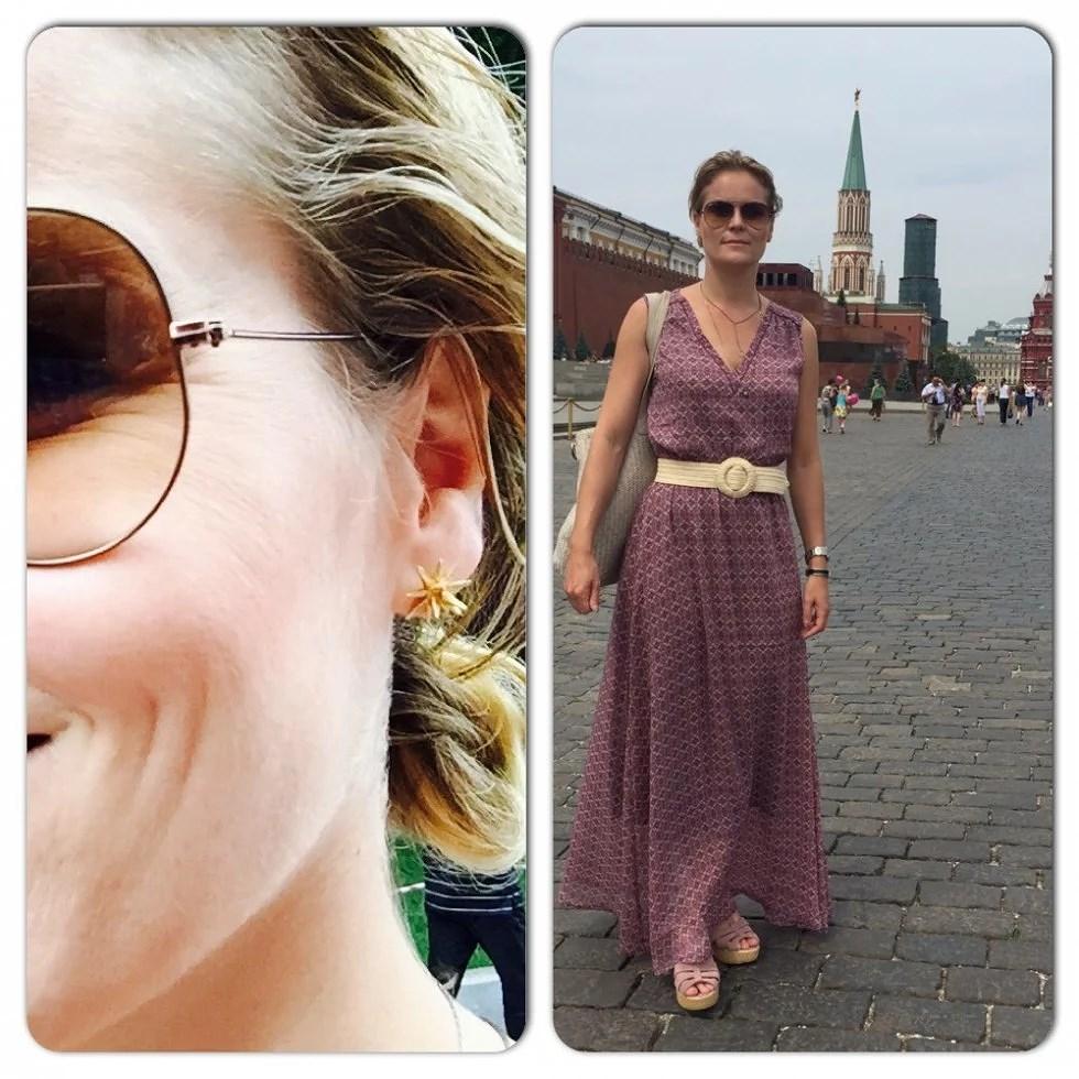 """Står foran Lenins grav på """"Den Røde Plads"""" ...øreringene, Halvstjernen er fra Gaia jewels (649,-)"""