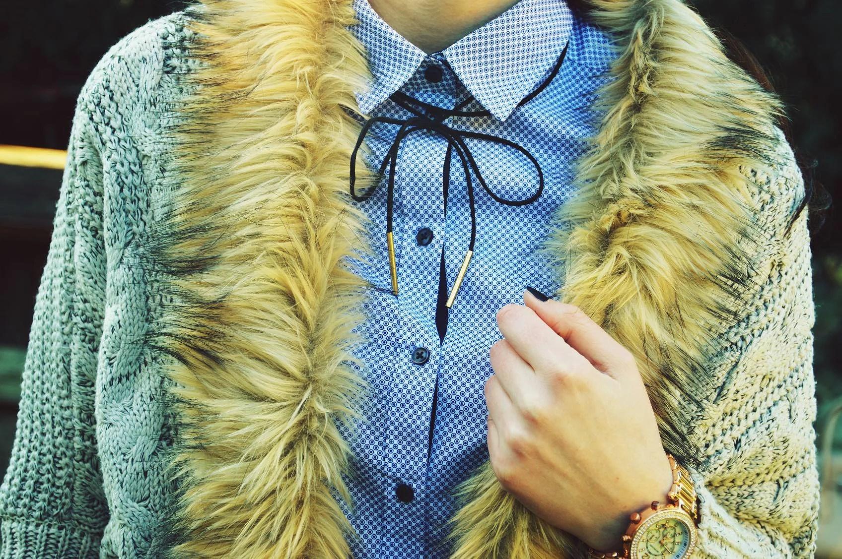 sweter, sweater, outfit, lidl,koszula, magiclovv, futerko