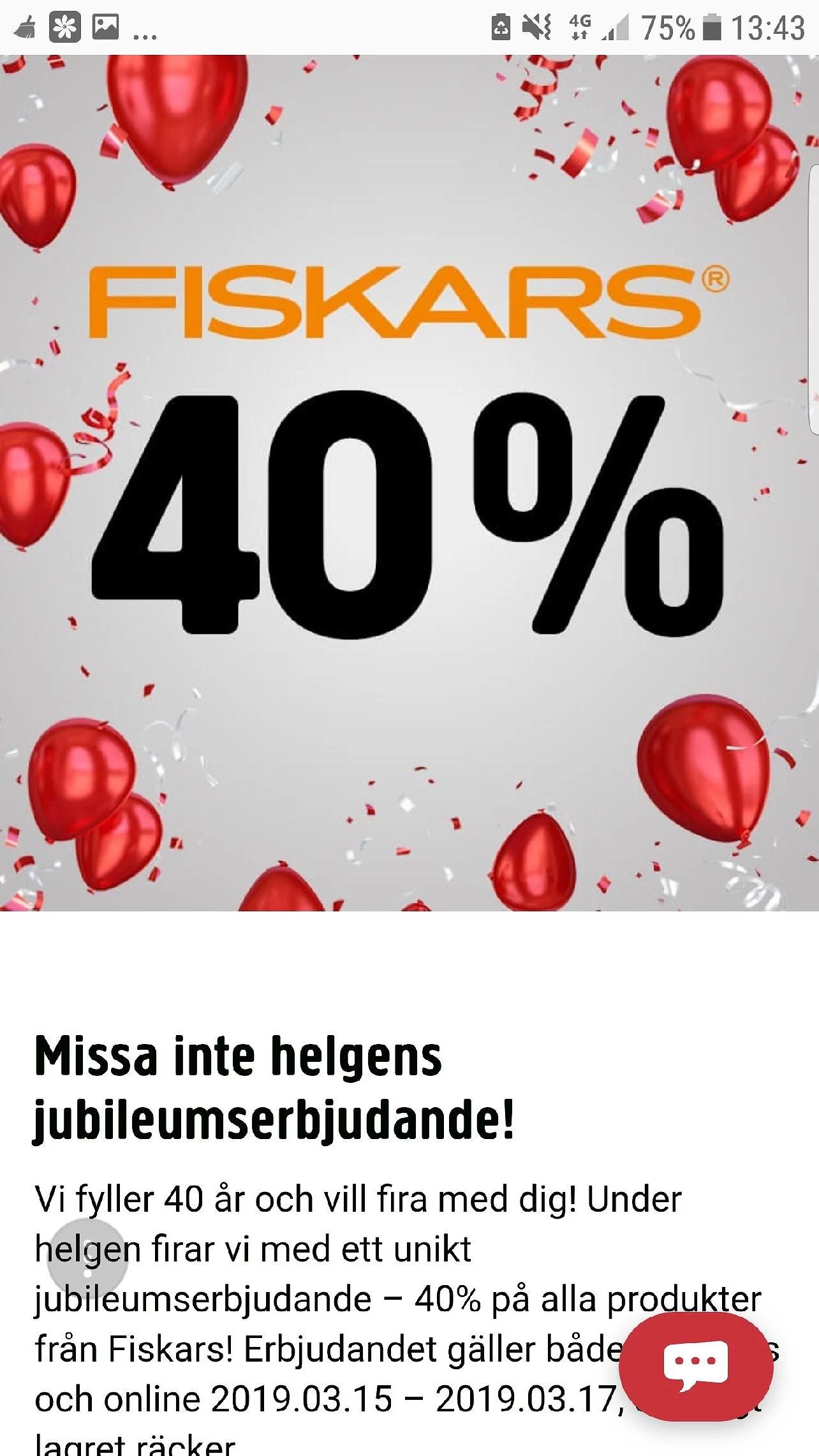 Jula 40% rabatt på Fiskars