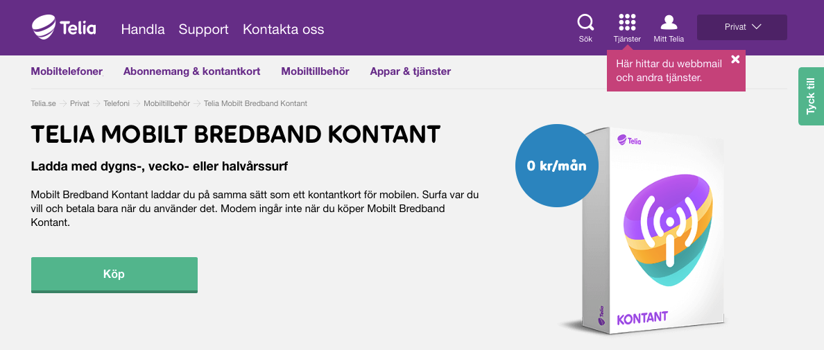 mobilt bredband fri surf telia