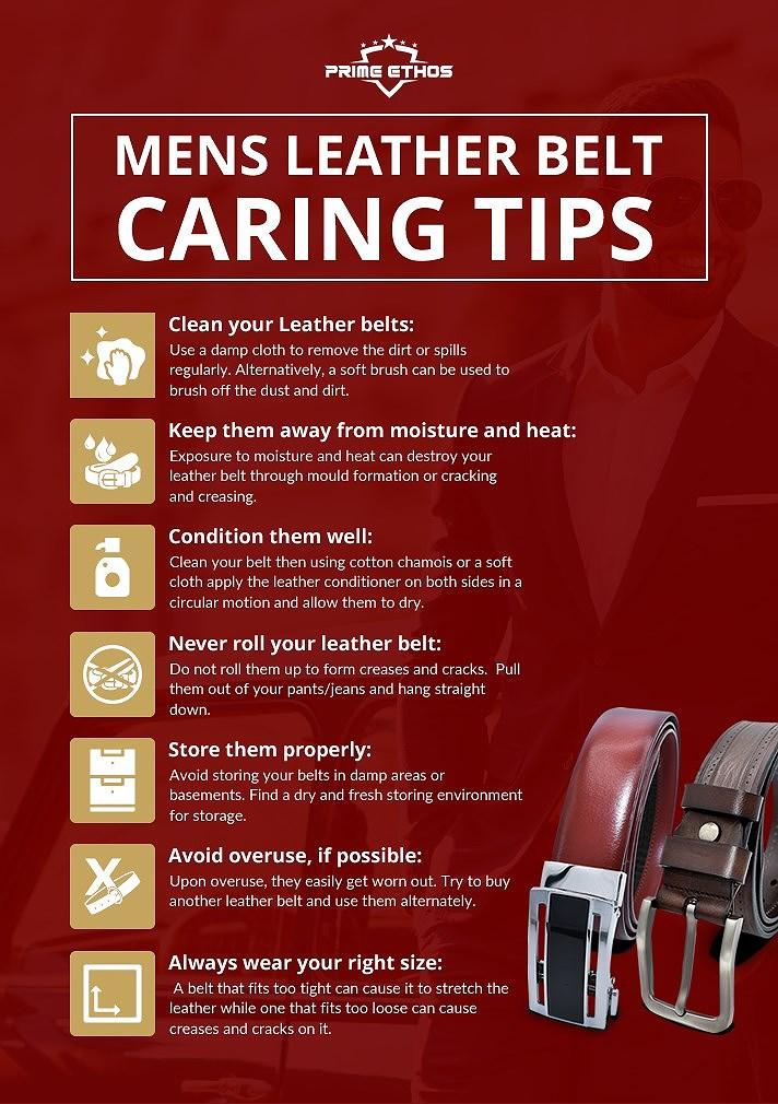 Mens leather belt caring tips