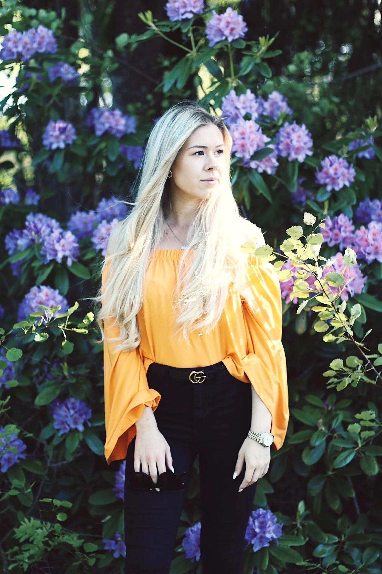 Orange off-shoulder top