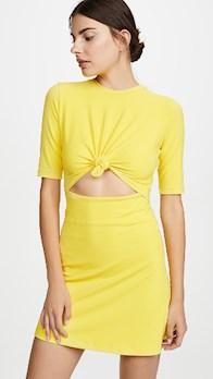 yellow dress Knot Front Dress