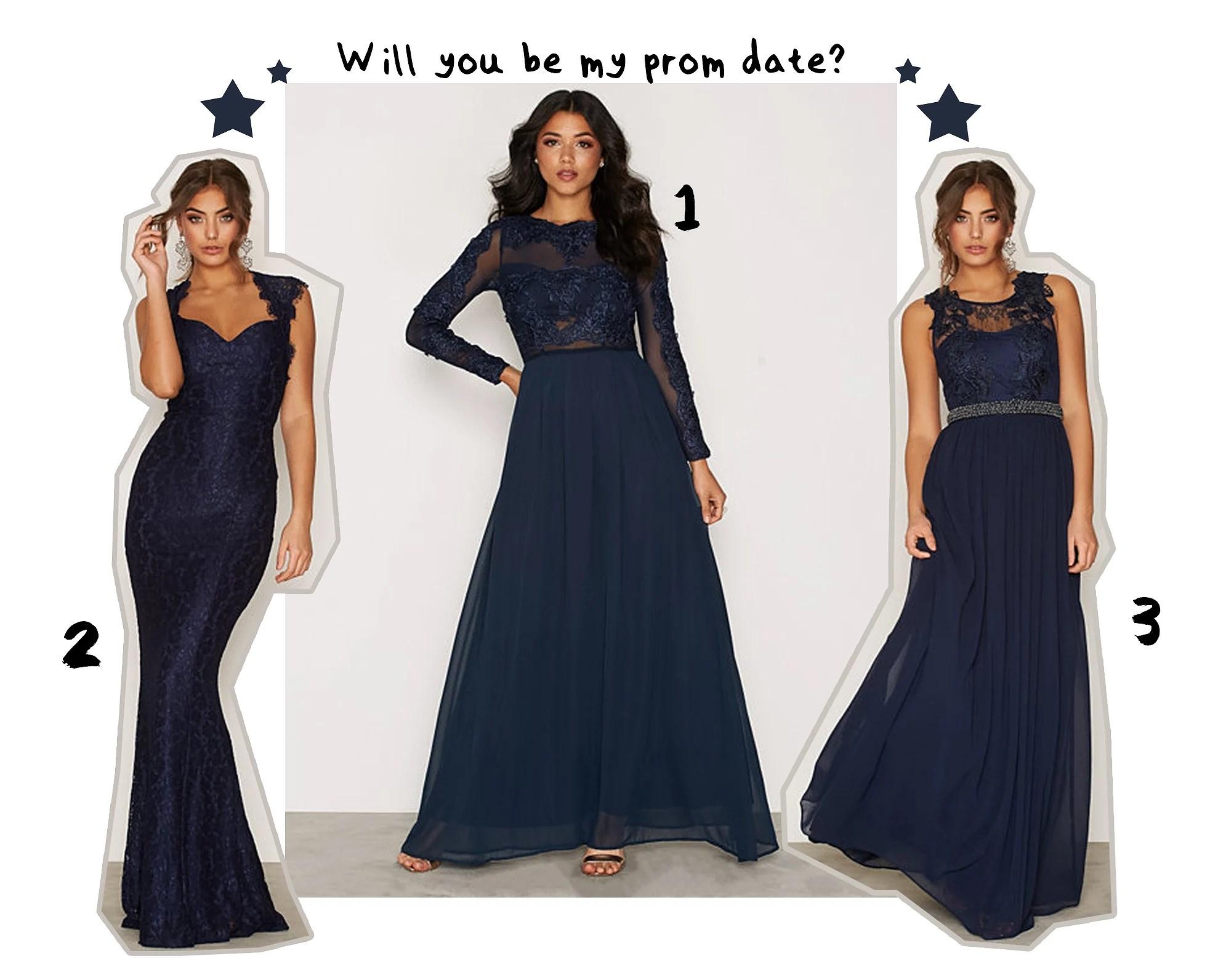 Tre marinblå balklänningar