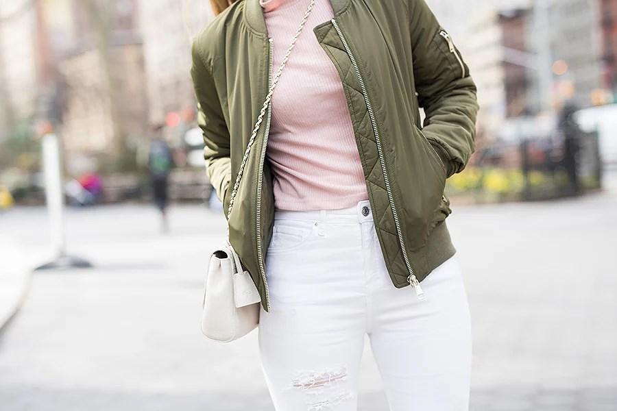 krist.in antrekk new york bomber jacket topshop ripped jeans