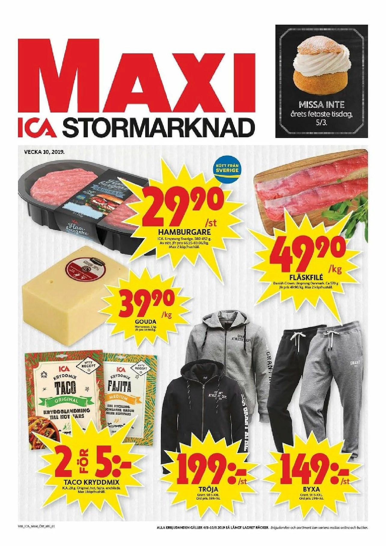 Ixa Maxi nästa vecka, taco kryddmix 2 för 5kr, Gouda 39,90kr kg och annat