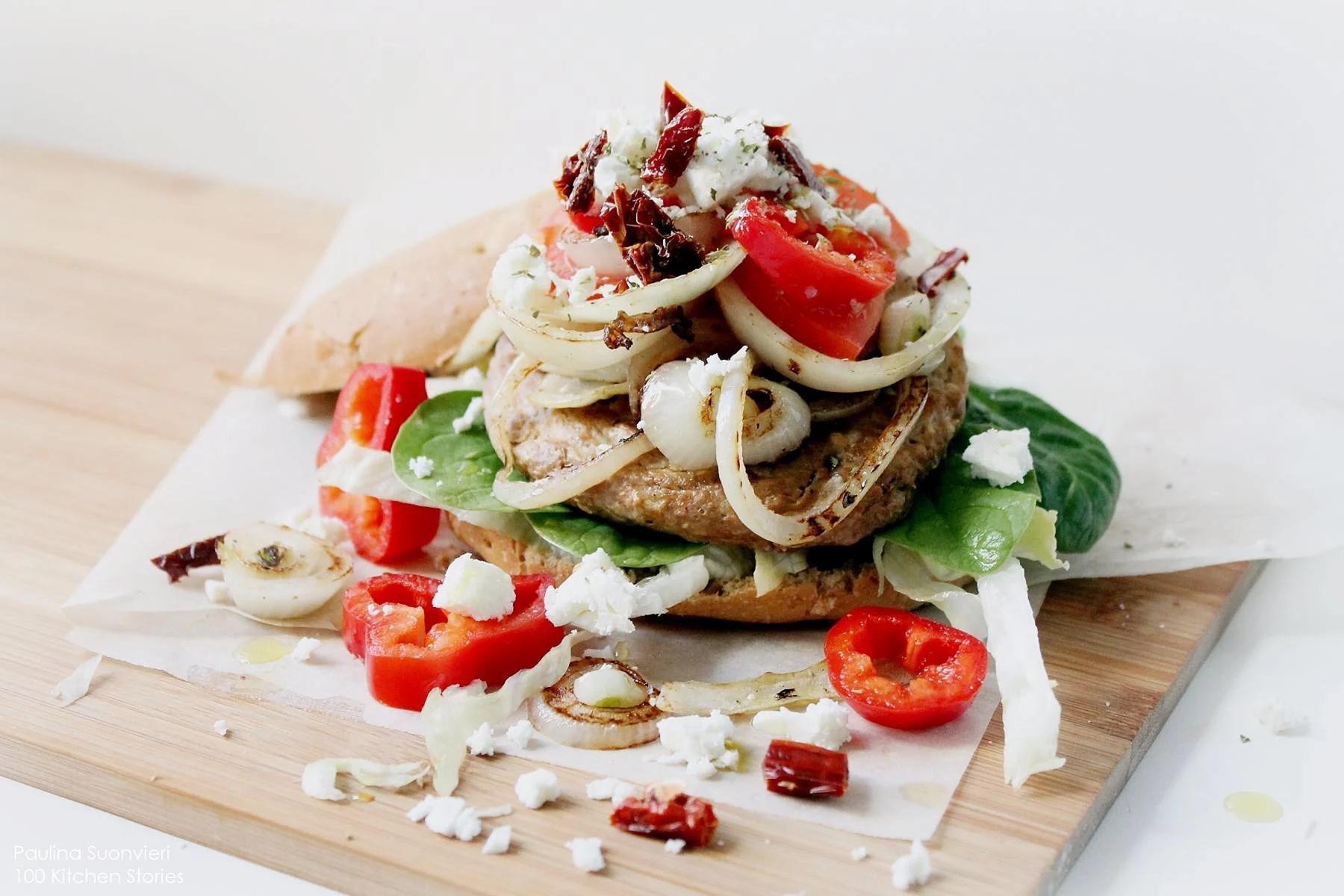 Veg Burger with Sundried Tomatoes, Feta Cheese and Oregano