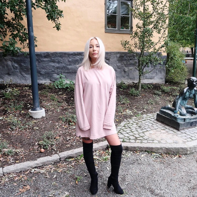 Pink Oversized Sweater Dress